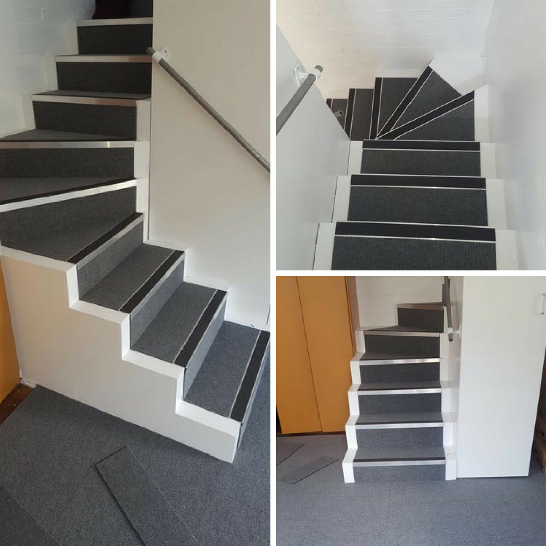 install carpet tiles on stairs