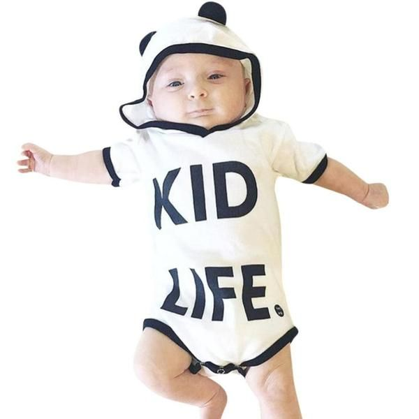 8a7fe9c2f440 2017 New Newborn Kid Life Letter Print Rompers Baby Boy Girl Clothes Hoodies  Short Sleeve Jumpsuit Letter Print Romper Outfit