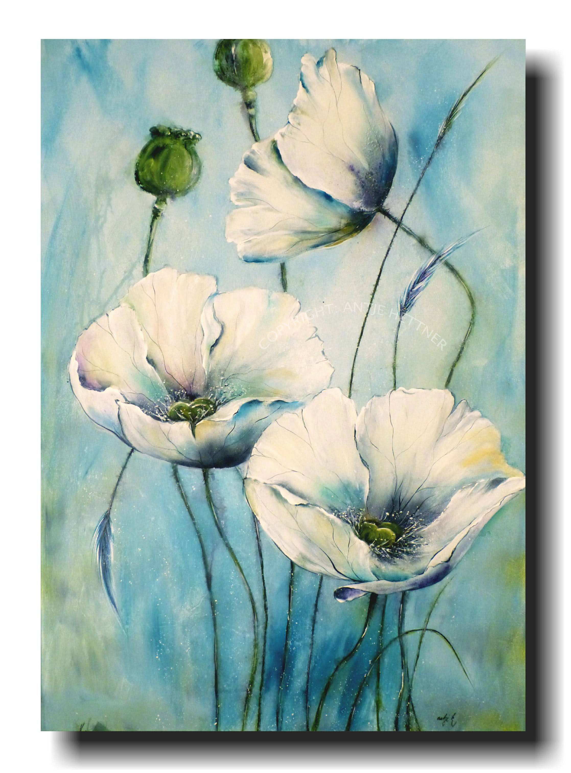 Starlight Poppies Acrylic Art On Canvas By Antje Hettner Blumen Malen Acryl Acryl Kunst