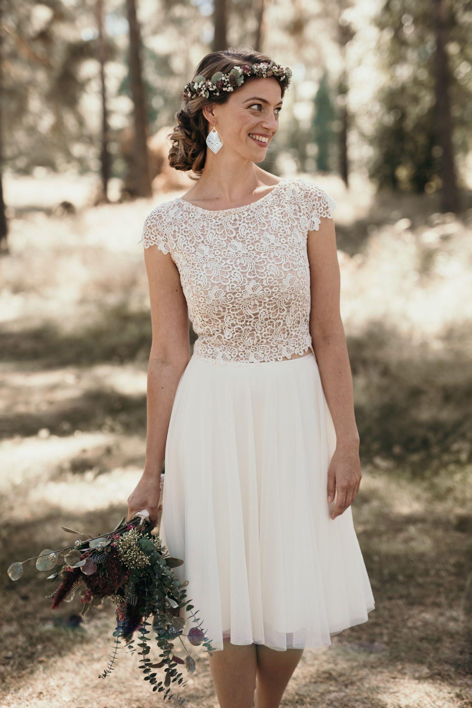 Brautkleid Zweiteiler mit Tüllrock und Spitzenoberteil von Claudia