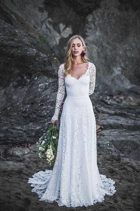 Long Sleeve Vintage Boho Wedding Dress