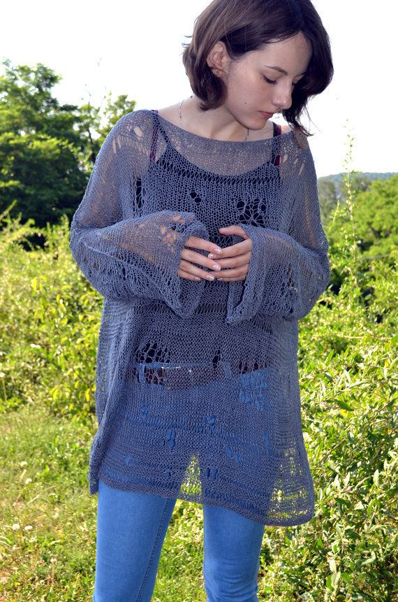 0965615973 Soft loose knit sweater oversized jumper beach tunic grey summer cotton  coverup boho chic long knit summer grunge crop top