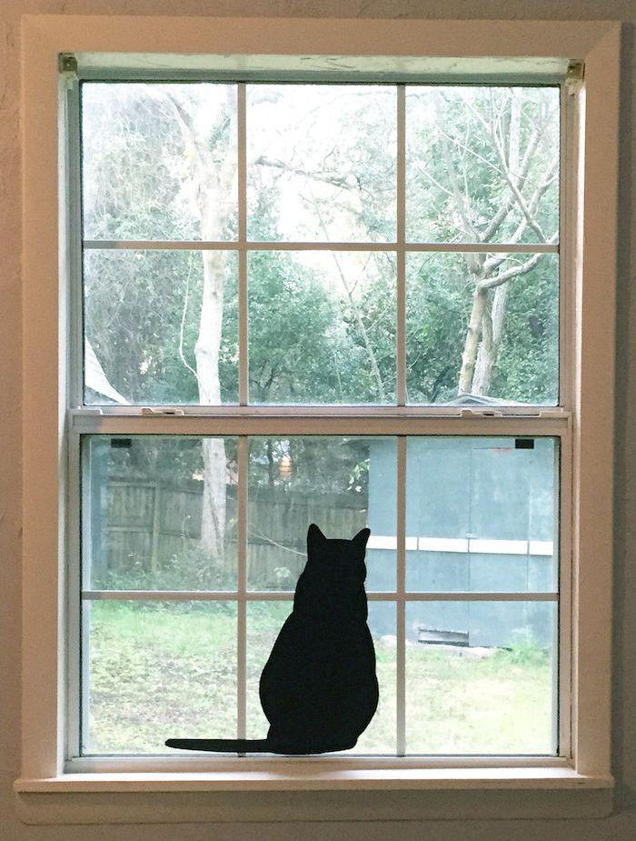 Large Sitting Black Cat Silhouette Vinyl Decal Black Cats - Vinyl decal cat pinterest