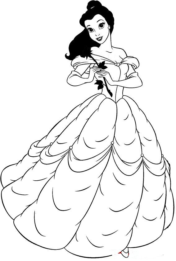 belle in beautiful dress beauty and the beast coloring
