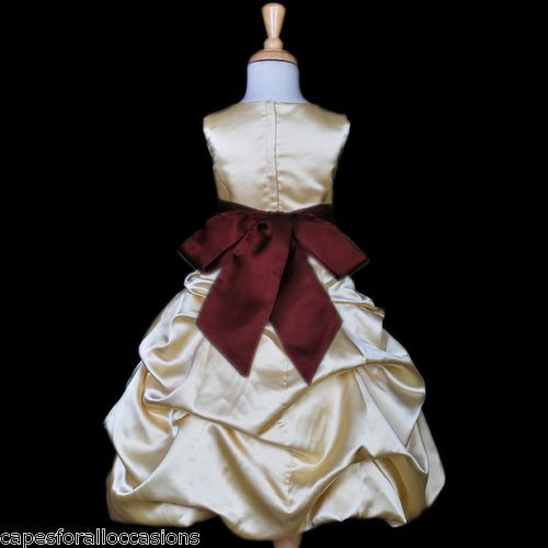 Gold burgundy red wedding flower girl dress 2 3t 4 5t 6 6x for Burgundy and gold wedding dress