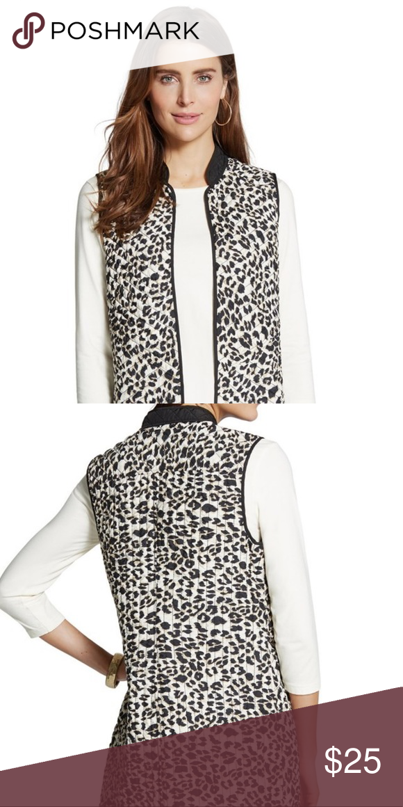 """0e724d599da Reversible Chico s Vest Quilted Leopard print reversible vest Chico s size 0  30"""" long Thin and comfortable Out of stock online!"""