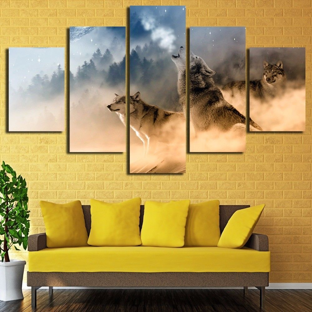 HD Printed Canvas Print Wall Art decor Morning Forest Wolf Animal ...