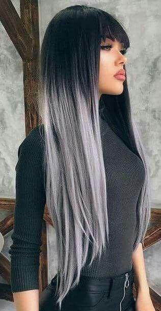 Cabello Negro Con Gris Plata