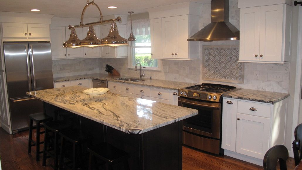 Silver Cloud Granite With White Cabinets And Black Island