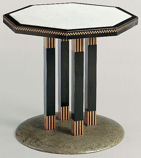 Table Octogonale Bois Et Marbre Josef Hoffmann 1903 Art Déco