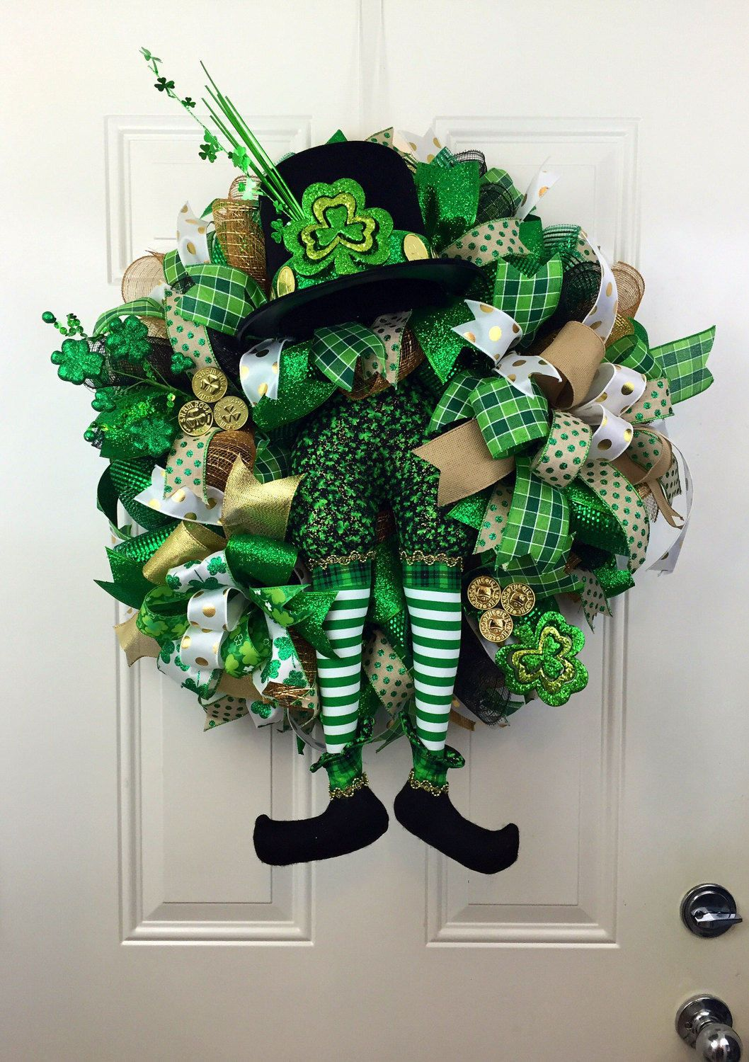 st patrick 39 s day deco mesh wreath deco mesh wreath for st patricks day st patricks day door. Black Bedroom Furniture Sets. Home Design Ideas