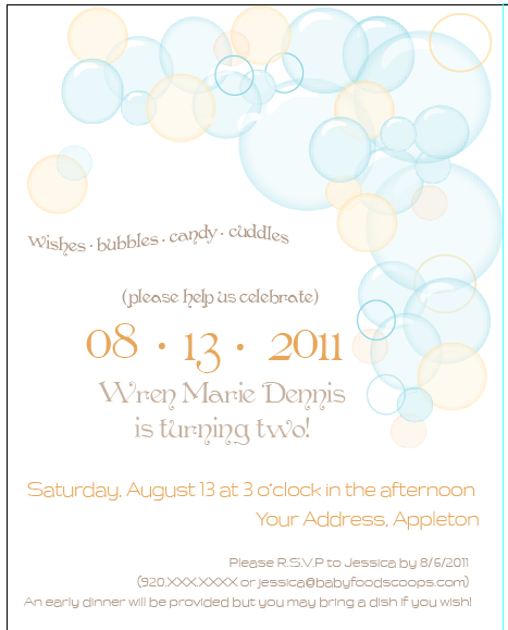 Toddler Birthday Party Invitation free download – Bubble Invitations Birthday