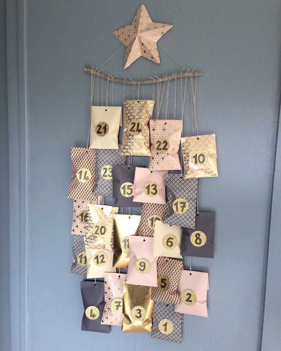 Complete kit advent calendar scandinavian spirit pink and gold christmas is coming here is an advent calendar to do it yourself the kit solutioingenieria Images