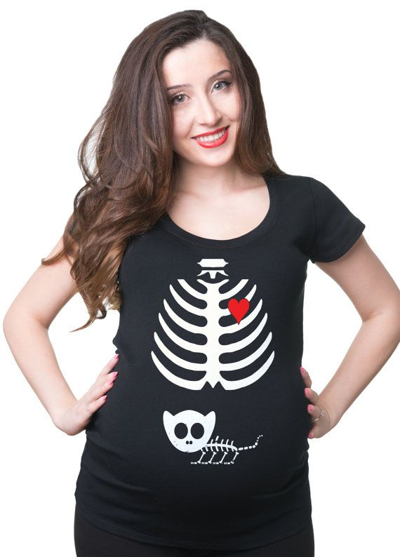 74c4909ec8868 Halloween Party Pregnancy Tee Shirt Kitty Cat Xray Skeleton Maternity T-Shirt  Halloween Costume