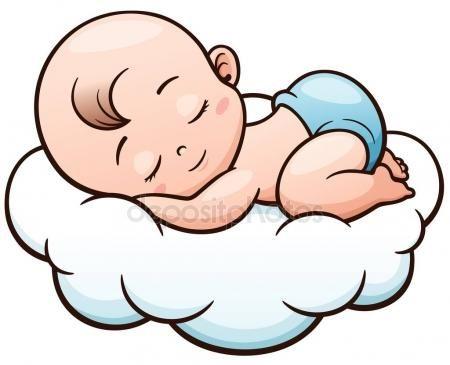 Vector Ilustración De Dibujos Animados Bebé Durmiendo Sobre Una Nube