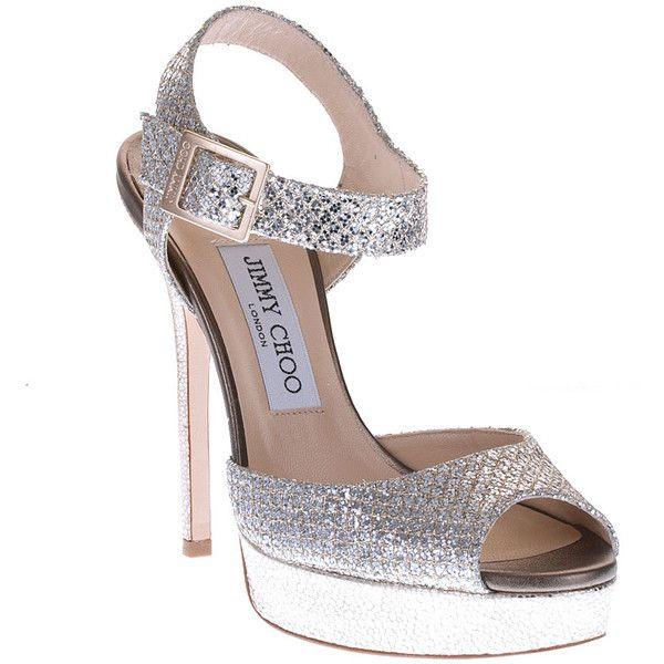 18d015b165b2 Jimmy Choo Linda Champagne Glitter Fabric Sandal Classic ($695) found on  Polyvore