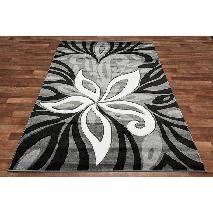 Http Rugdepot Modern Grey Area Rug Flower Silver Black White Color Blend Room Size Html Rugs Pinterest