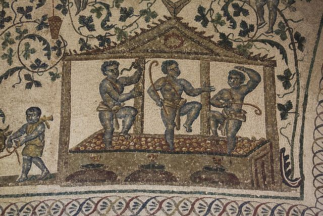 Wine making in ancient Rome, as shown on this ceiling ...
