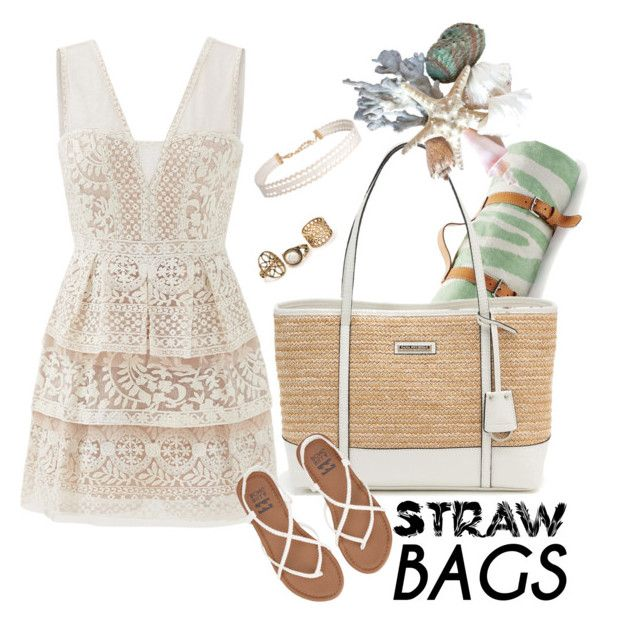 """""""Straw bag"""" by betty-bossy ❤ liked on Polyvore featuring Maslin & Co., Dana Buchman, BCBGMAXAZRIA, Billabong, Humble Chic and strawbags"""