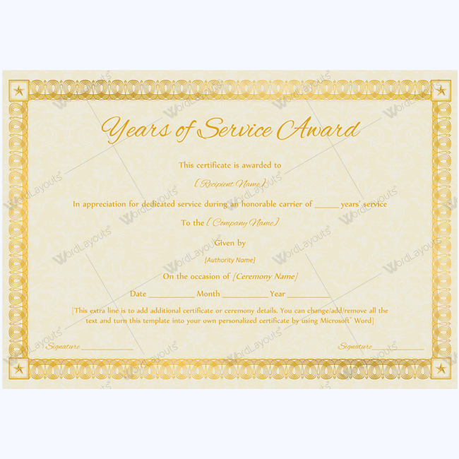 Years Of Service Award   Certificate And Template