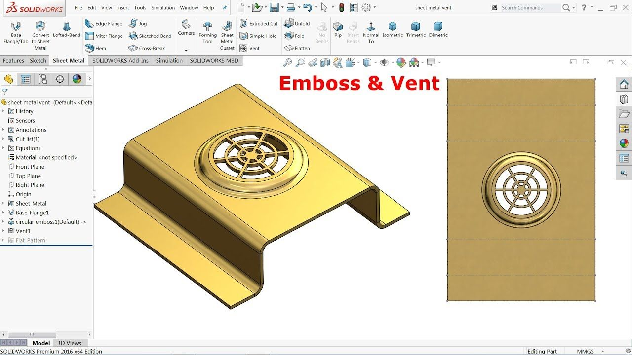 Solidworks Sheet Metal Tutorial Vent And Emboss Youtube Solidworks Sheet Metal Solidworks Tutorial
