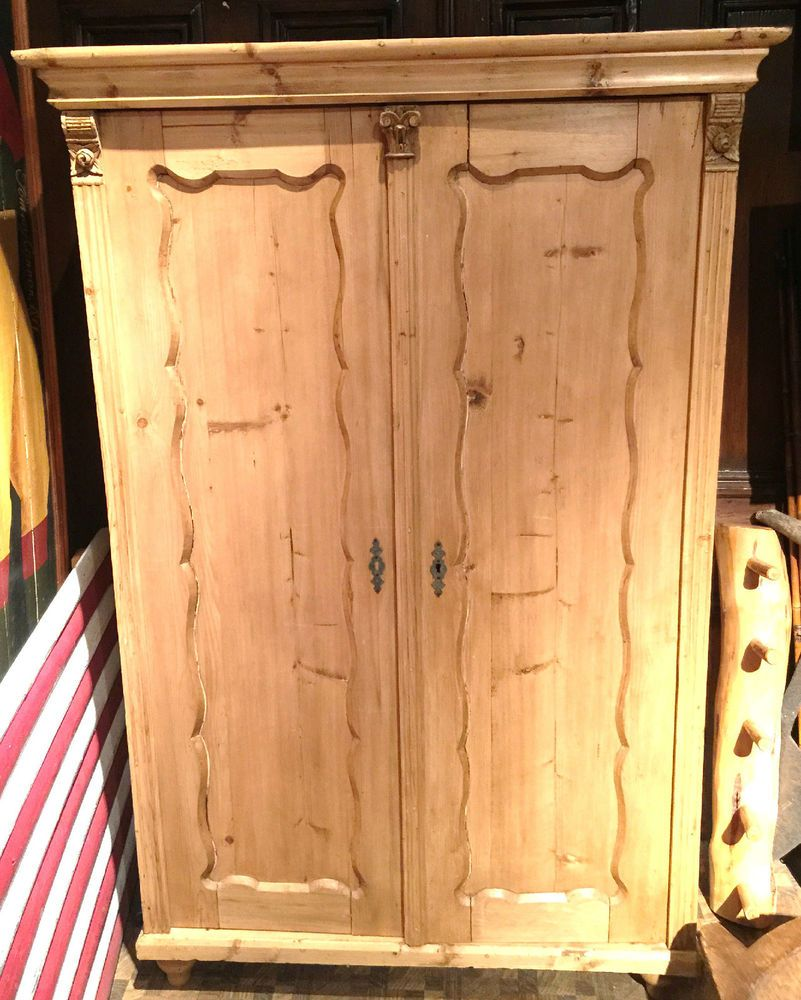 Antique Austrian Pine Two Door Armoire w/ Nice Hand Carved Details Circa 1880's