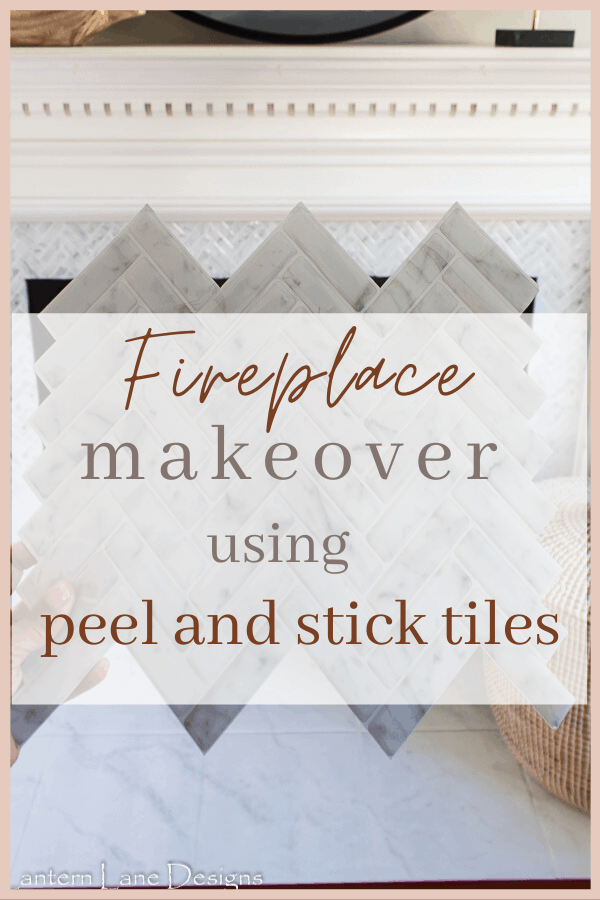 DIY fireplace makeover using peel and stick tiles. An easy and affordable way to update your fireplace. #diyhomedecor #diyprojects