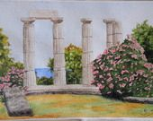 Aquarelle des vestiges d'un temple en Grèce : Peintures par ely-creations