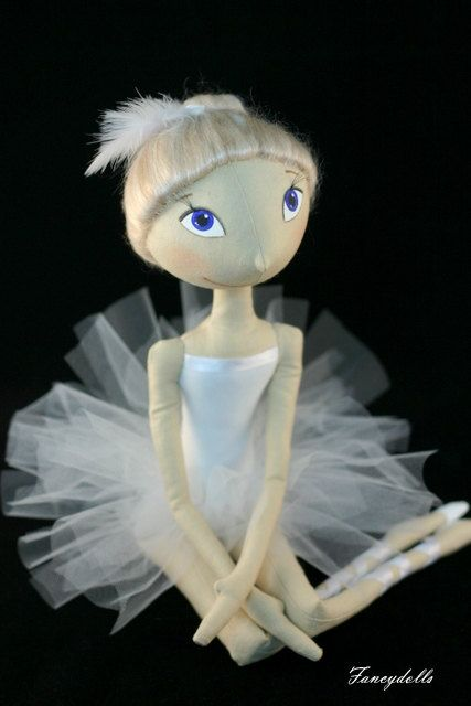 Cloth doll ballet dancer White Swan