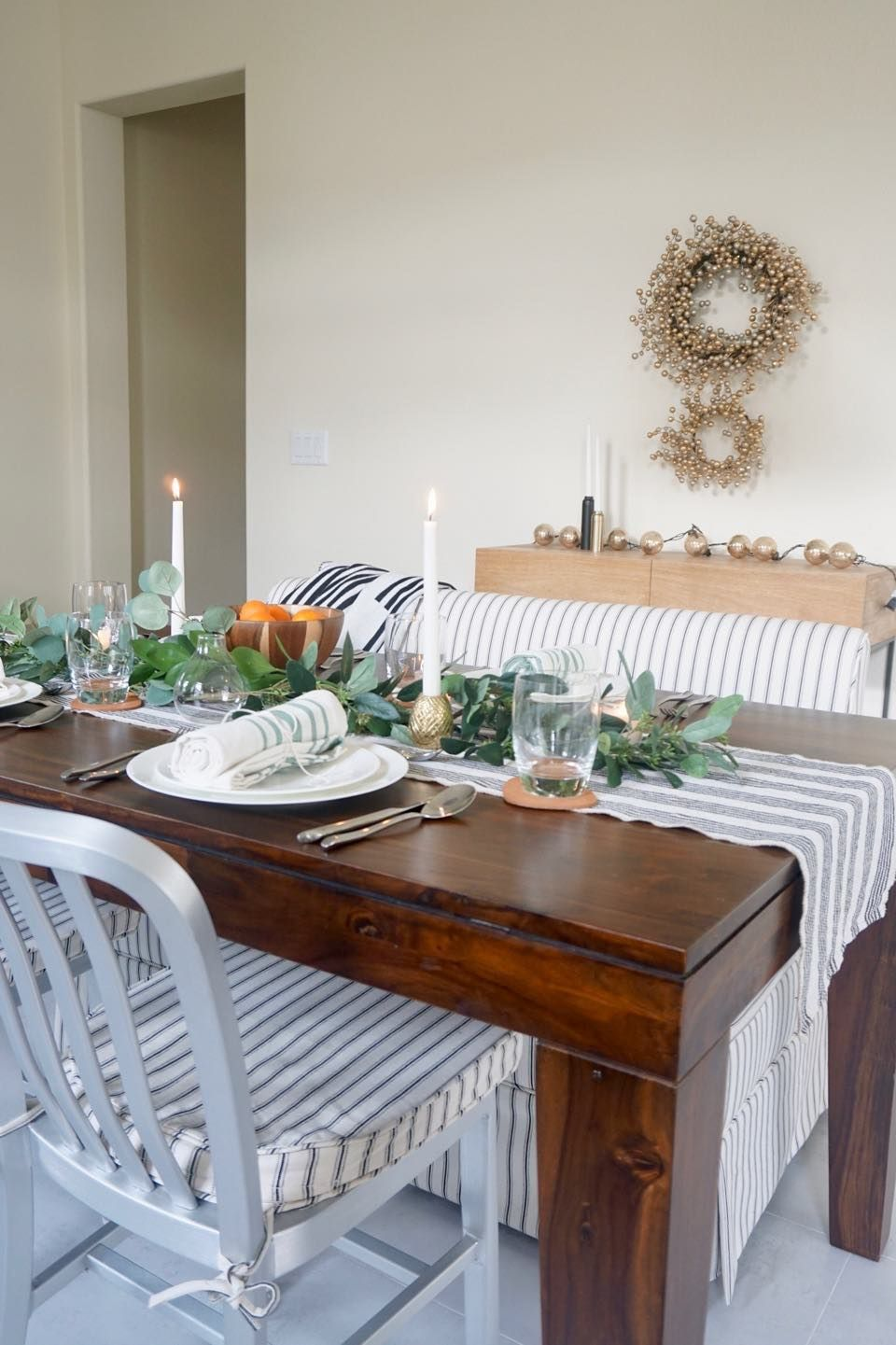 Scandinavian Glam Holiday Simple Modern Dining Table Decor