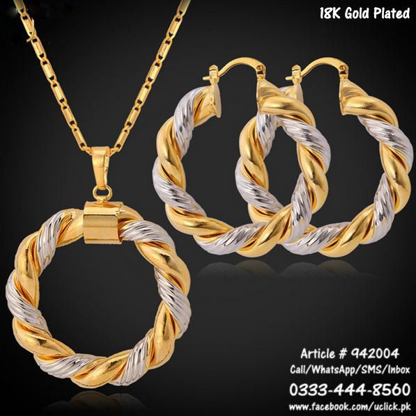Necklace   Earrings Set Gold Plated Mixed with Aluminum