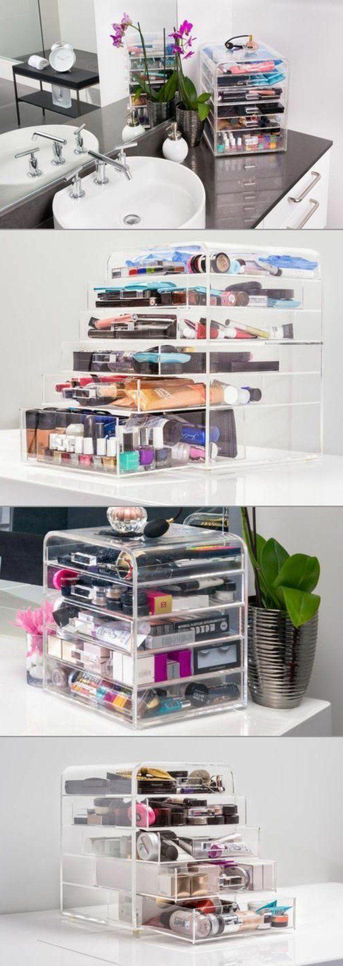 range maquillage en boit plastique transparent, meuble rangement maquillage