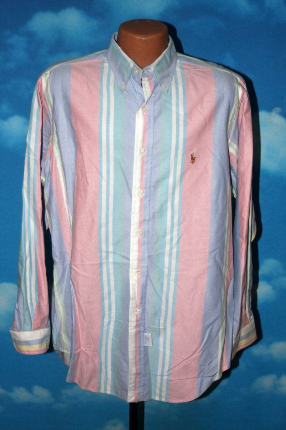 d66a0a2dc Polo Ralph Lauren Pastel Striped XL Shirt Vintage 1990s by nodemo