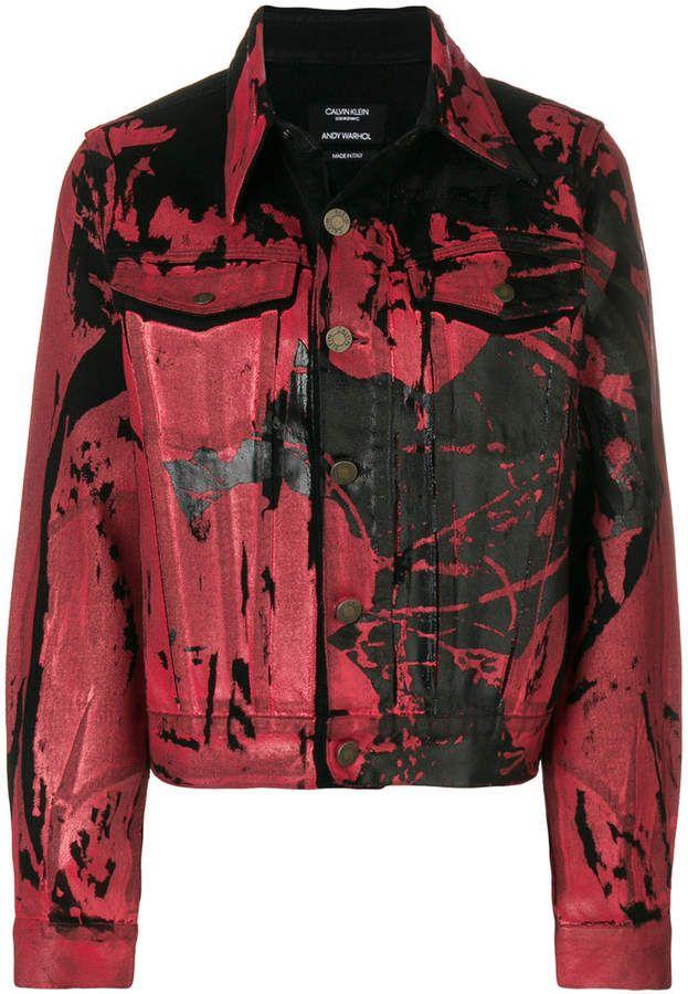 d85431186f72 Calvin Klein 205W39nyc Painted Print Denim Jacket in 2019 | Punk ...