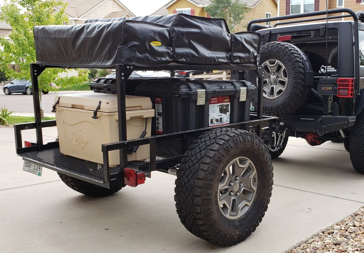 Denny's 4×6 utility trailer Jeep camper riding on 35″ tires and outfitted with t…