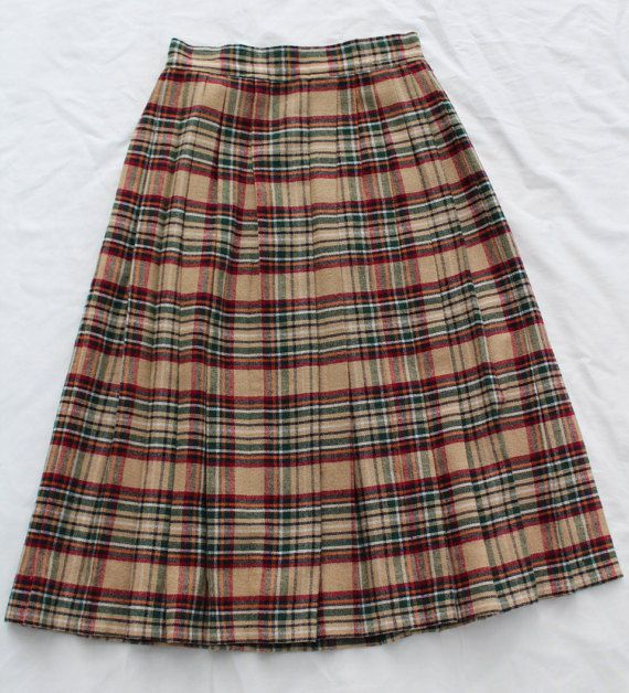 65970be81 Vintage Plaid Pleated Wool Skirt by Percussion by RaddayVintage   A ...