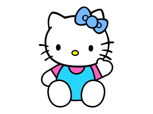Home Coloring Pages Hello Kitty Sitting