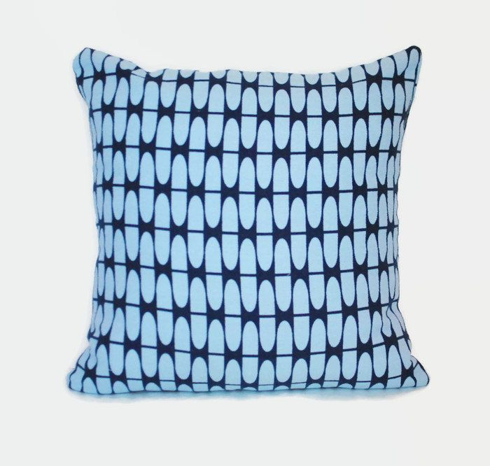 Geometric navy and light blue decorative pillow cover 1 cover for