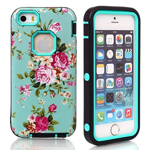 iPhone SE Case, Firefish Hybrid [Hard PC+ Soft Silicone] [Peony Design] Comprehensive Protection Impact Absorbing [Detachable] Cover for Apple iPhone SE/5/5S( Not for 5C)+One stylus-Sky Blue