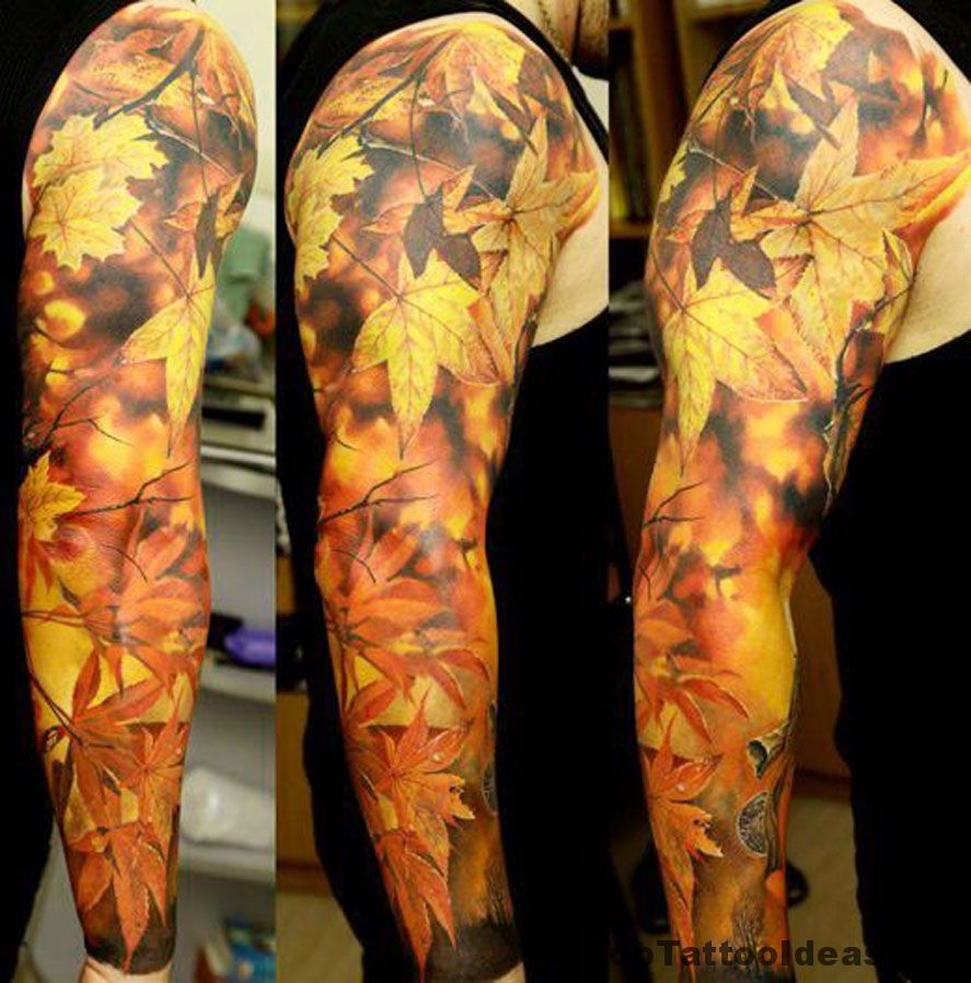 Autumn Leaves Sleeve Tattoo Idea Autumn Tattoo Best Sleeve Tattoos Fall Leaves Tattoo