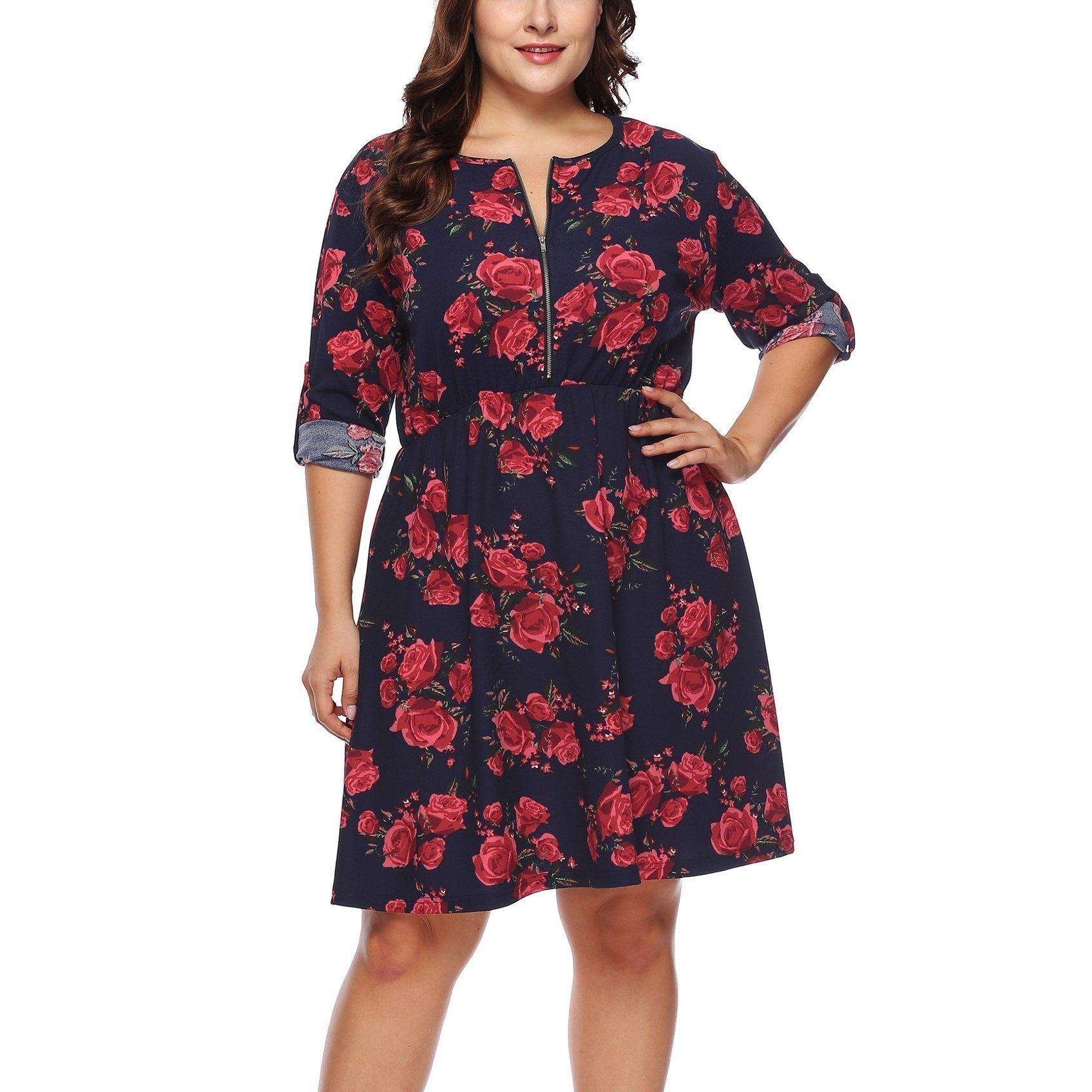 Casual Plus Size Long Sleeve Floral Print Mini Dresses in ...