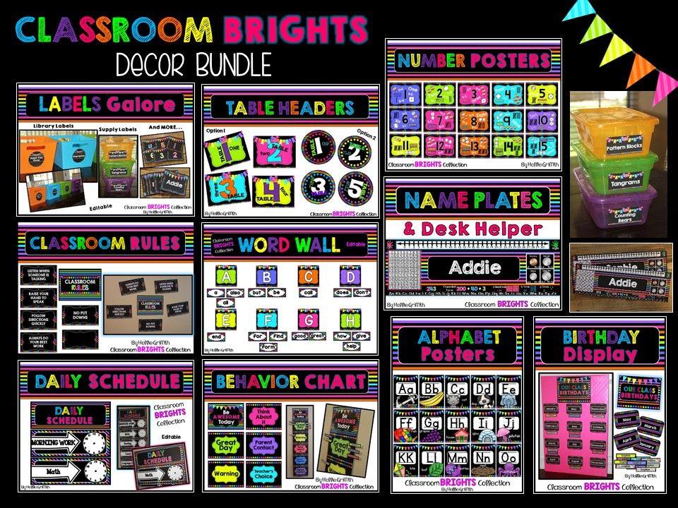 Classroom Decor Collections ~ Classroom brights decor bundle bright
