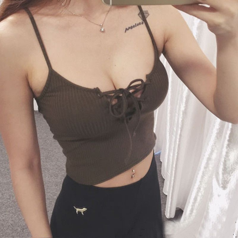 086bff5ac7 Crop Tops Women 2017 Summer New Womans Short Bralette Low Cut Tanks Top  Bandage