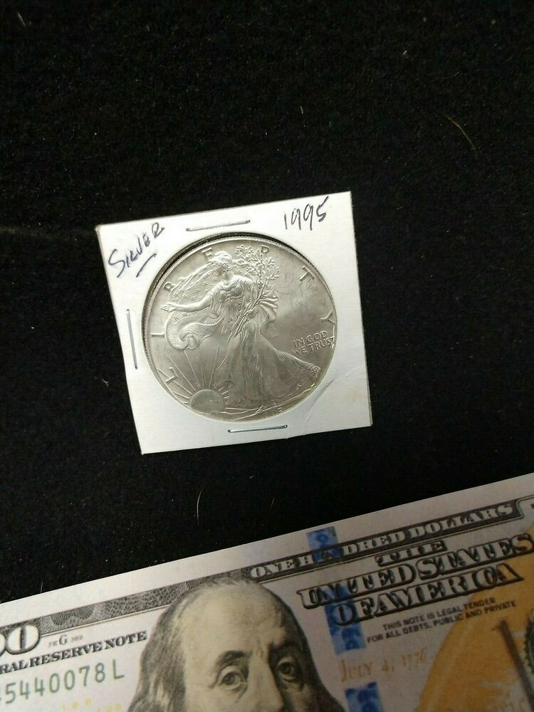 1995 American Silver Eagle Dollar 1 Oz Fine Silver Circulated Bullion Silver Bullion Silver Eagles Bullion Coins