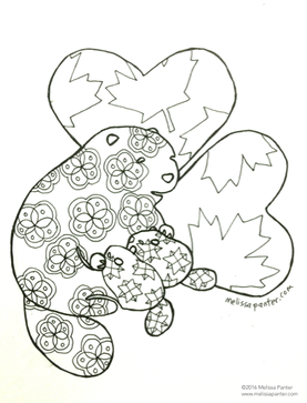 Mama And Nursing Baby Beavers With Canadian Maple Leaves Heart Background Adult Coloring Page