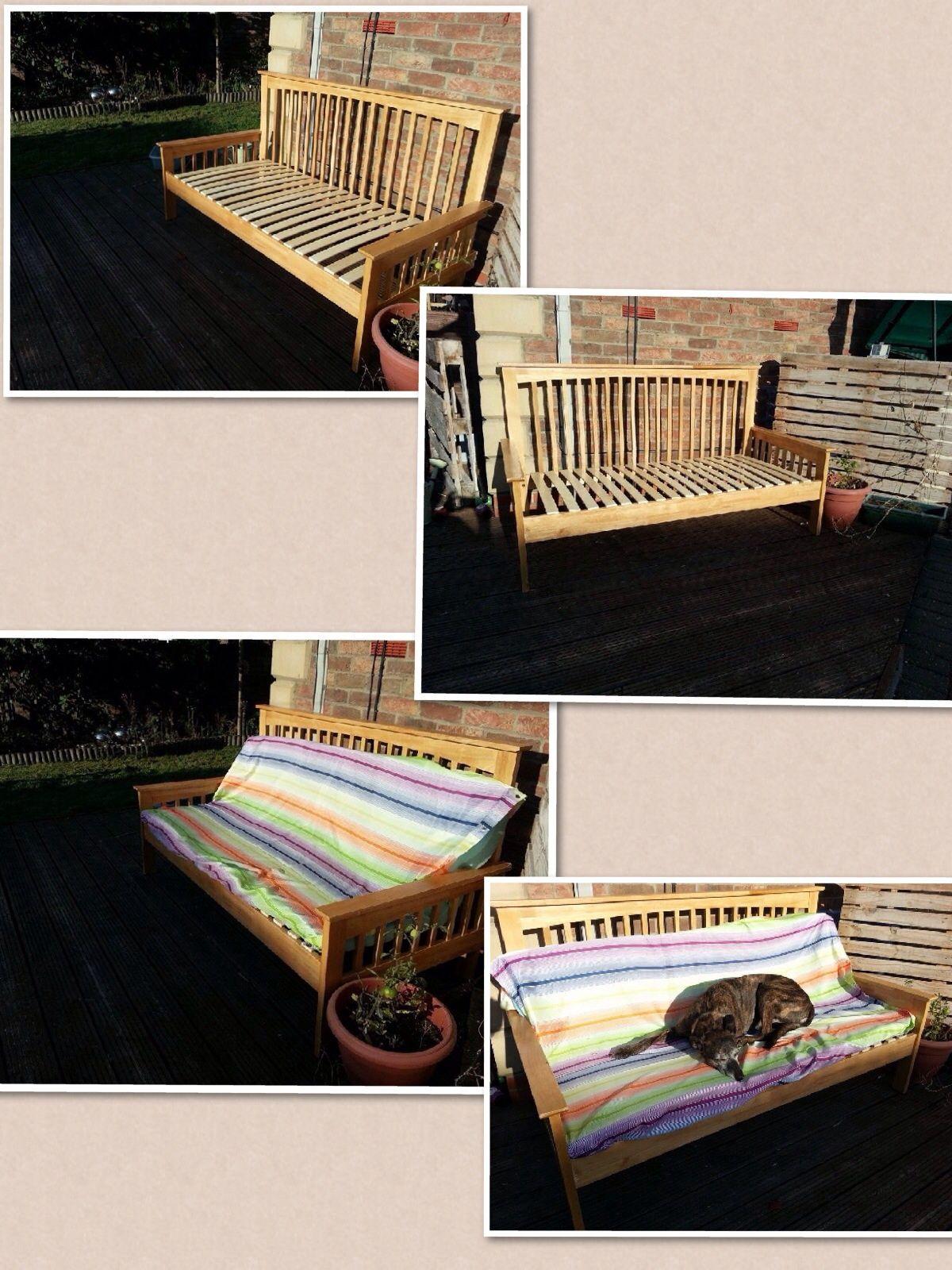 Garden bench made from a broken Oak king size bed frame