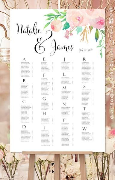 Wedding seating chart poster watercolor floral print ready digital file also confetti gold reception plan rh pinterest