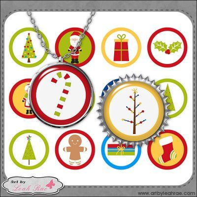 "Christmas Cheer 2-Art by Leah Rae 1"" Bottle Cap/Jewelry Circles"