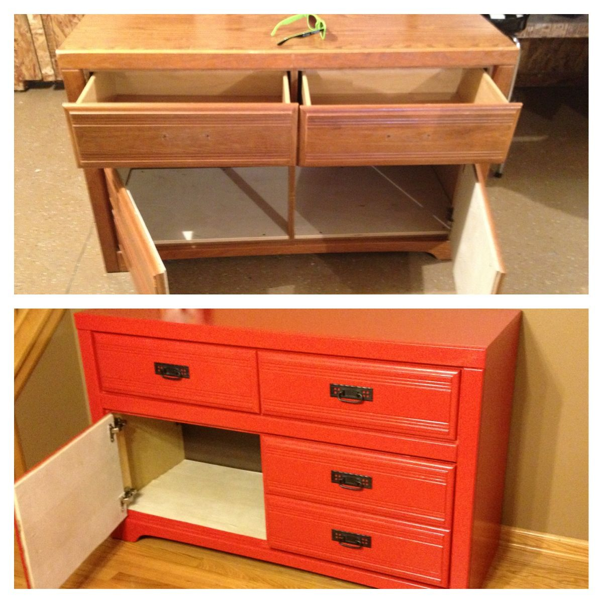 Diy Dresser Makeover Remove Drawers And Attach Doors Hinges For Shoes Diy Dresser Diy Dresser Makeover Dresser Makeover Dresser with doors and drawers