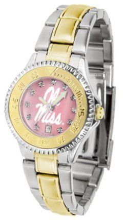 Mississippi (Ole Miss) Rebels Competitor Ladies Watch with Mother of Pearl Dial and Two-Tone Band by SunTime. $110.96. The ultimate NCAA fan's statement, this Mississippi (Ole Miss) Rebels Competitor Two-Tone timepiece offers women a classic, business-appropriate look. Features a 23kt gold-plated bezel, stainless steel case and date function. Secures to your wrist with a two-tone solid stainless steel band complete with safety clasp.The hypnotic iridescence of...